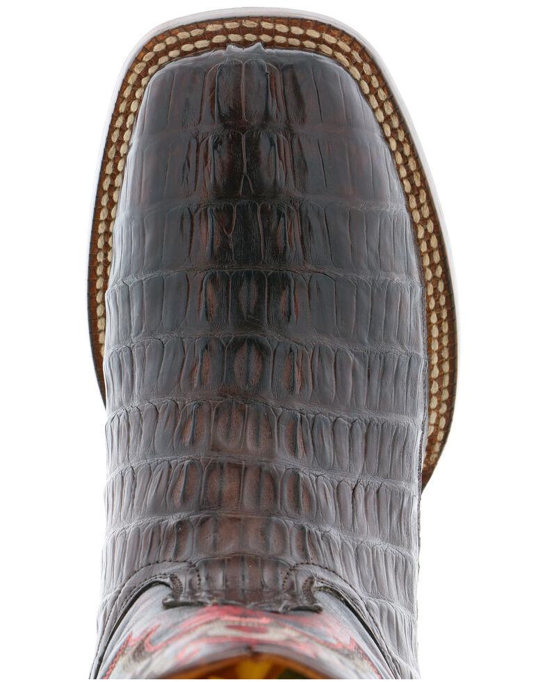 El Dorado Men's Caiman Tail Western Boots - Wide Square Toe, Chocolate, hi-res