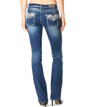 Grace in LA Women's Dark Blue Flap Pocket Jeans - Boot Cut , Dark Blue, hi-res