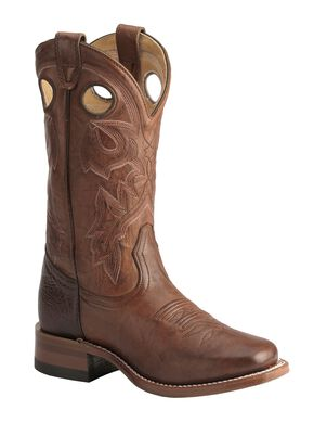 Boulet Italian Lamb Cowgirl Boots - Square Toe, Dark Brown, hi-res