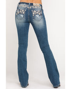 Miss Me Women's Medium Low Rise Aztec Embroidered Chloe Bootcut Jeans , Blue, hi-res