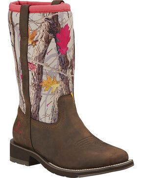 Ariat Fatbaby All Weather Camo Cowgirl Boots - Square Toe, Brown, hi-res