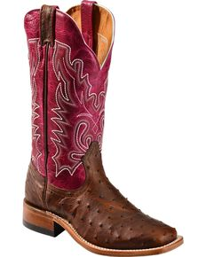 Boulet Antique Full Quill Ostrich Cowgirl Boots - Square Toe, Antique Saddle, hi-res