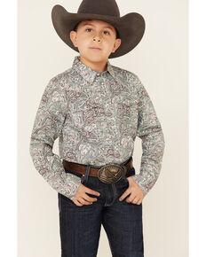 Cody James Boys' Grasslands Paisley Print Long Sleeve Western Shirt , Teal, hi-res