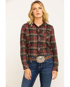 North River Women's Rust Plaid Long Sleeve Flannel Shirt, Medium Red, hi-res