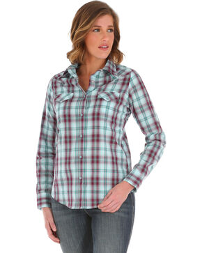 Wrangler Women's Purple Plaid Long Sleeve Shirt , Purple, hi-res