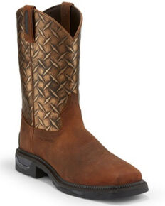 Tony Lama Men's Diboll Rust Diamond Plate Western Work Boots - Composite Toe, Rust Copper, hi-res
