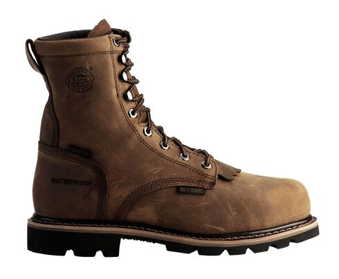 "Justin Wyoming Waterproof 8"" Lace-Up Work Boots - Composition Toe, Brown, hi-res"