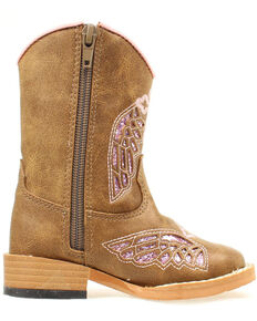 Blazin Roxx Toddler Girls' Gracie Wing Cross Inlay Boots, Brown, hi-res