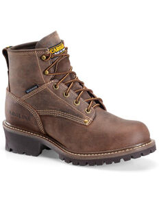 Carolina Men's Waterproof Logger Work Boots - Round Toe, Dark Brown, hi-res
