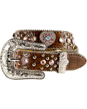 Nocona Girls' Heart Concho Croc Print Leather Belt - 18-26, Brown, hi-res