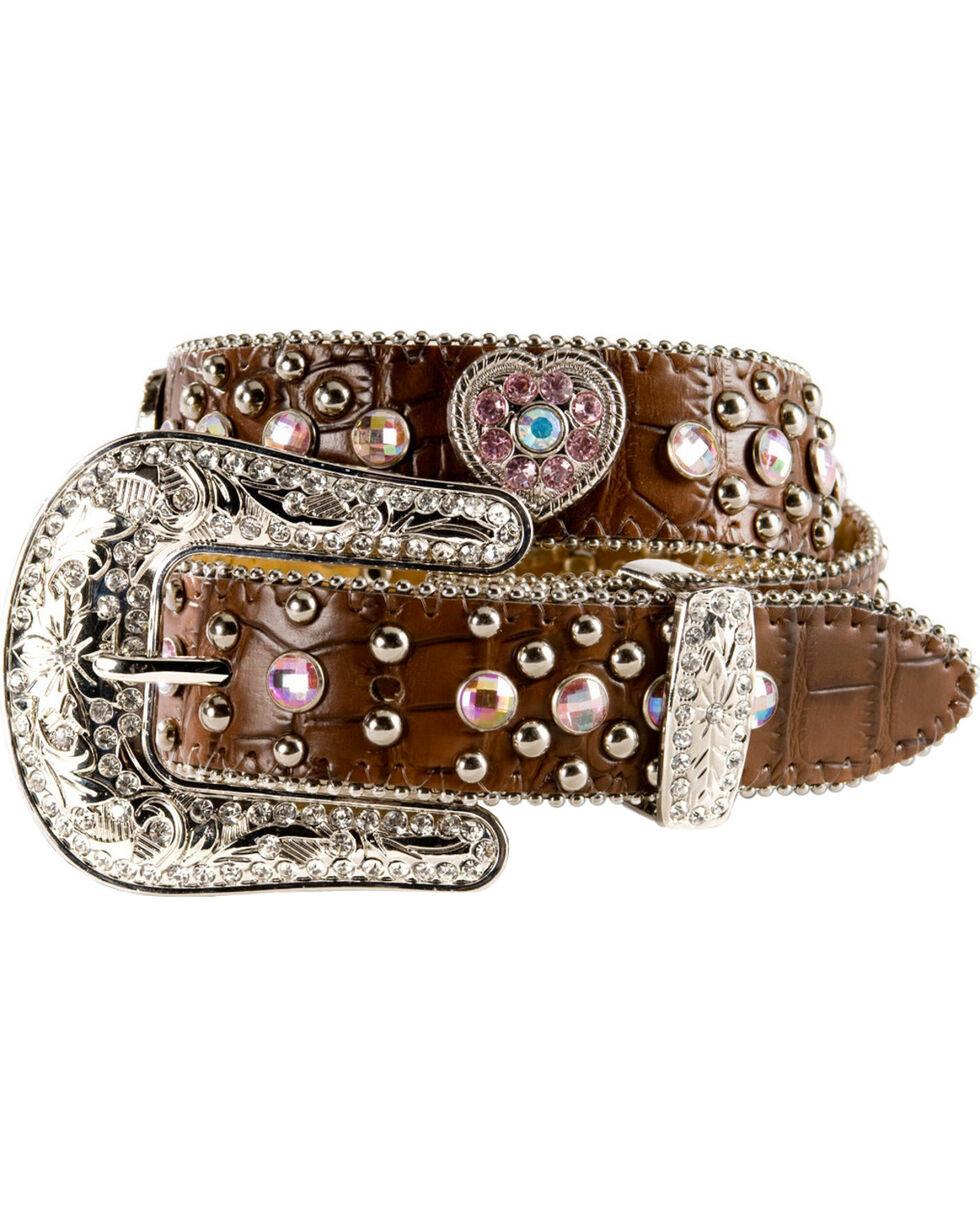 Nocona Girls' Heart Concho Croc Print Leather Belt - 18-26, Brown, hi-res