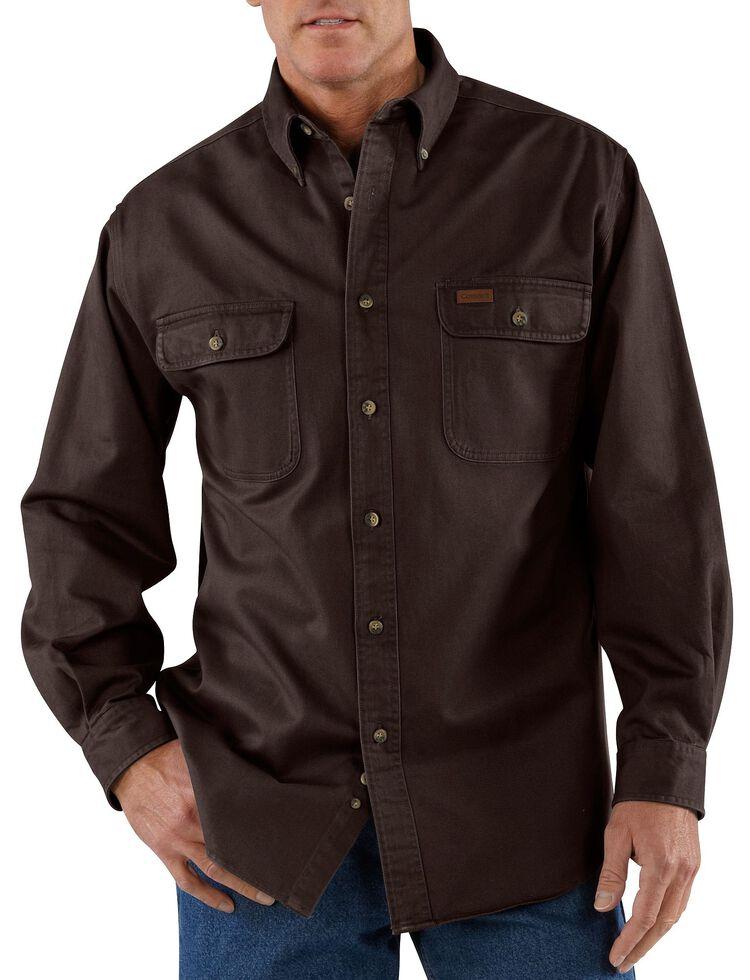Carhartt Sandstone Twill Work Shirt - Big & Tall, Dark Brown, hi-res