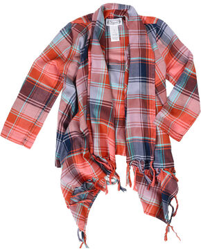 Shyanne Girls' Plaid Fringe Cardigan, Peach, hi-res