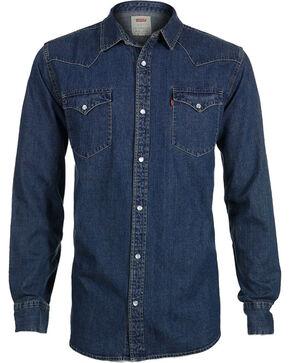 Levi's Men's Denim Long Sleeve Western Shirt, Blue, hi-res