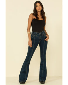 Rock & Roll Cowgirl Women's Dark Wash Front Seam Flare Jeans, Blue, hi-res