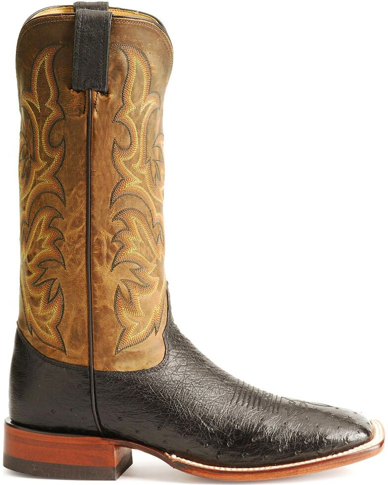 Justin Smooth Ostrich AQHA Remuda Western Cowboy Boots - Square Toe, Black, hi-res