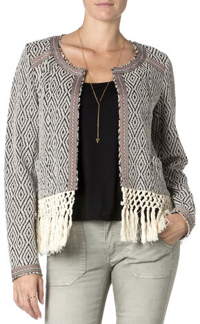 MIss Me Fringe Hem Jacket , Black, hi-res