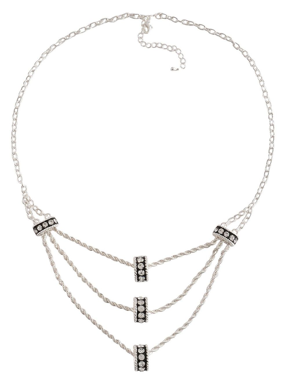 Montana Silversmiths Crystal Ring Tiered Chain Necklace, Silver, hi-res