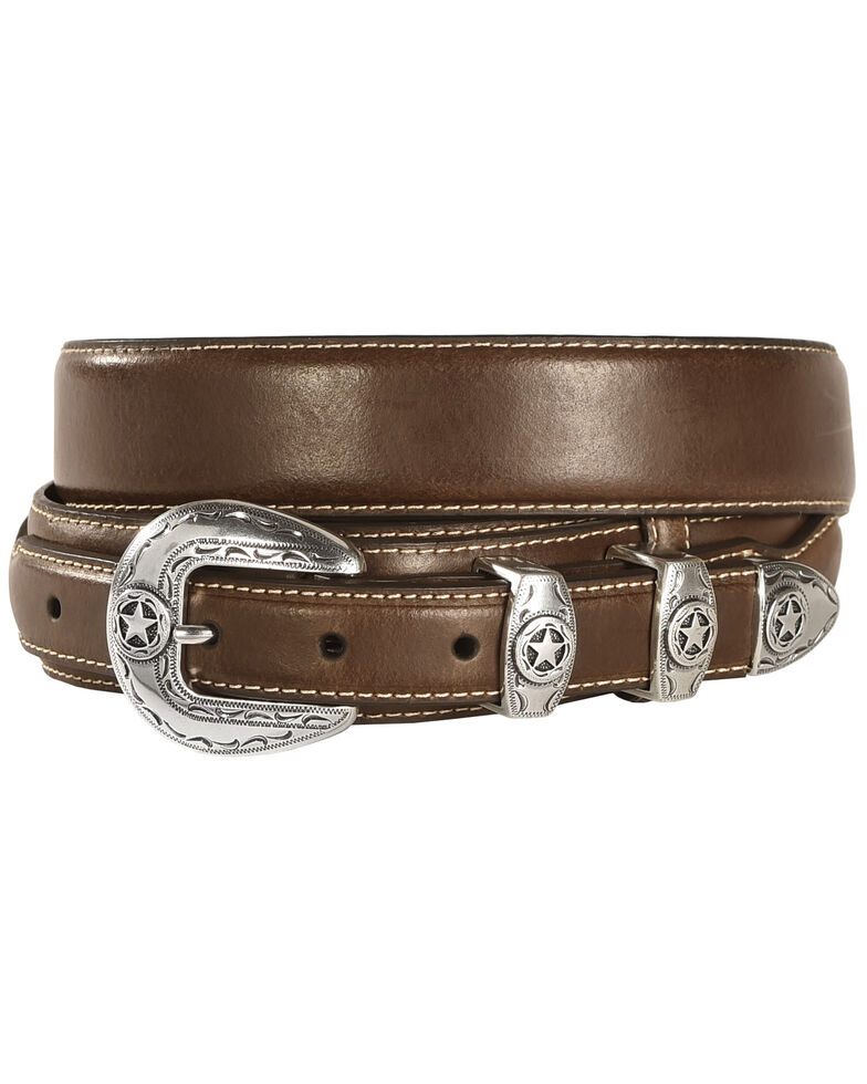 Nocona Leather Overlay Ranger Belt, Brown, hi-res