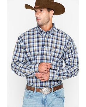 Cinch Men's Brown Plaid Western Shirt , Burgundy, hi-res