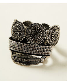 Shyanne Women's Shimmer Concho Fancy Feather Bracelet Set, Silver, hi-res