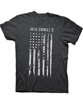 Jack Daniel's Men's Charcoal Painted Flag Tee , Charcoal, hi-res