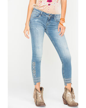 Miss Me Women's Distressed Hem Ankle Jeans - Skinny , Indigo, hi-res