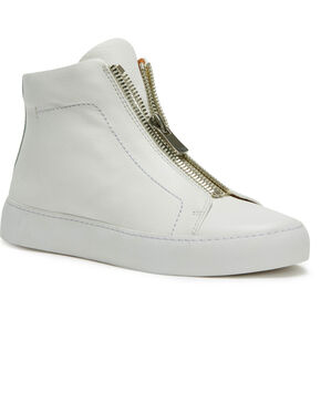 Frye Women's White Lena Zip High Shoes - Round Toe, White, hi-res