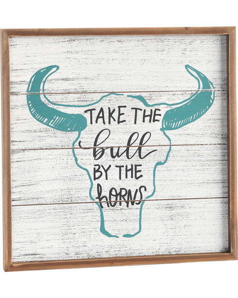 BB Ranch Bull By The Horns Wall Plaque, No Color, hi-res