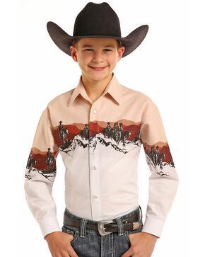 Panhandle Boys' Scenic Border Print Long Sleeve Snap Shirt, Beige/khaki, hi-res