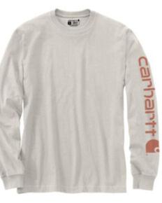 Carhartt Men's Ivory Logo Heavyweight Graphic Long Sleeve Work T-Shirt , Ivory, hi-res
