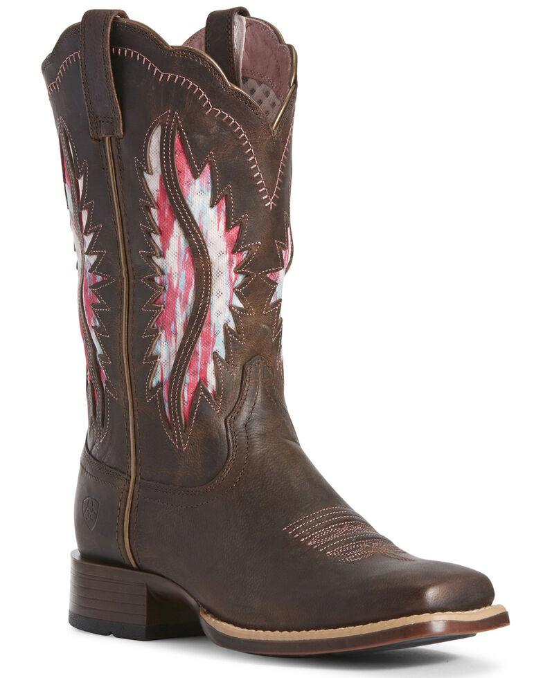 Ariat Women's VentTEK Solana Western Boots - Wide Square Toe, Brown, hi-res