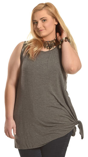 Derek Heart Women's Grey Beauty Asymmetric Tank - Plus Size, Grey, hi-res