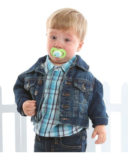 Wrangler Toddler Boys' Turquoise Snap Placket Western Shirt , , hi-res