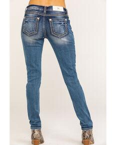 Miss Me Women's Medium Low Rise Mixed Stitch Skinny Jeans, Blue, hi-res