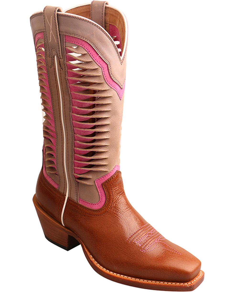 "Twisted X Women's 12"" Ruff Stock Vented Shaft Cowgirl Boots - Square Toe, Lt Brown, hi-res"