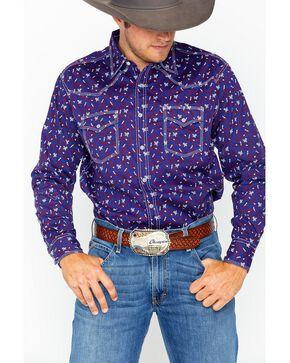 Wrangler 20X Men's Paisley Competition Advanced Comfort Shirt , Burgundy, hi-res