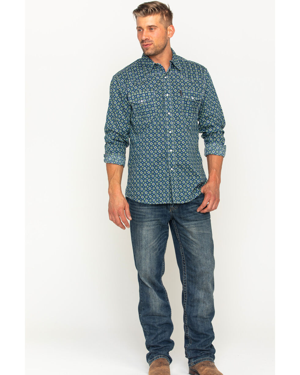 Cinch Men's Blue Print Long Sleeve Western Shirt , Multi, hi-res