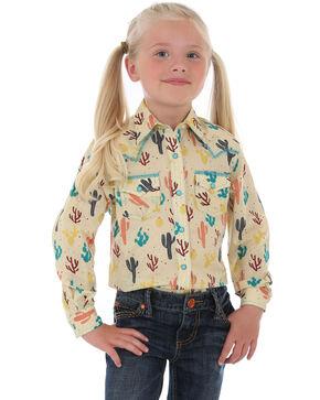 Wrangler Girls' All Over Cactus Print Snap Long Sleeve Western Shirt, Multi, hi-res