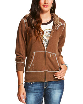 Ariat Women's Alpine Zippered Fur Trim Hoodie, Tan, hi-res