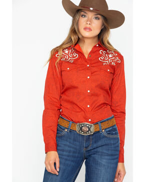 Panhandle Women's Paisley Embroidered Rodeo Snap Shirt , Red, hi-res