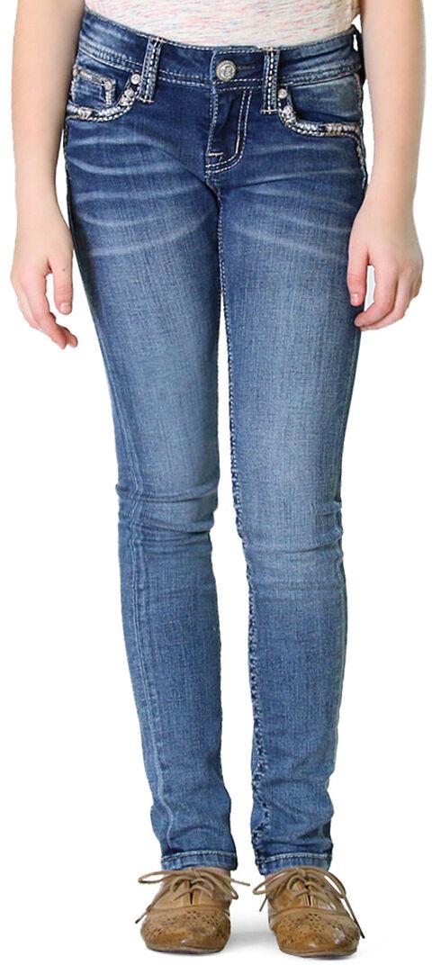 Grace in LA Girls' Abstract Skinny Jeans, Indigo, hi-res