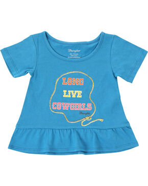 Wrangler Infant Girls' Cowgirl Short Sleeve Tee , Blue, hi-res