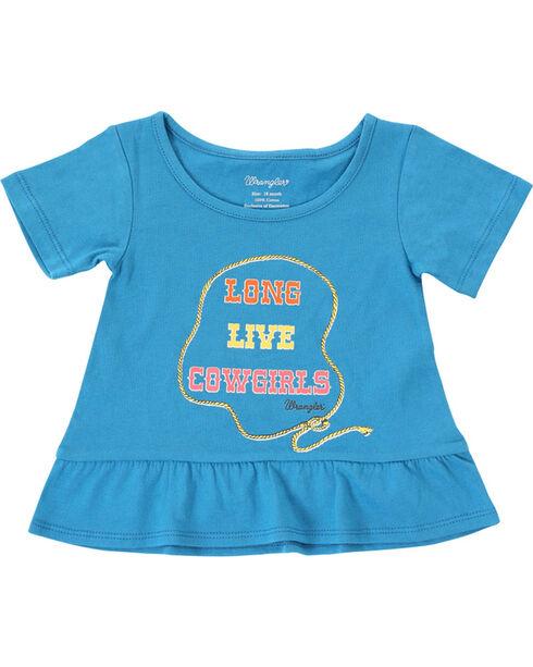Wrangler Infant/Toddler Girls' Cowgirl Short Sleeve Tee , Blue, hi-res