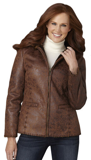 Cripple Creek Antique Faux Shearling Hooded Jacket with Handlaced Trim, Caramel, hi-res