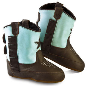Old West Girls' Infant Brown and Turquoise Poppets - Round Toe, Brown, hi-res