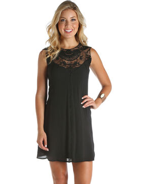 Wrangler Women's Black Lace Swing Dress, Black, hi-res