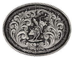 Montana Silversmiths Classic Impressions Bucking Bull Attitude Belt Buckle, Silver, hi-res