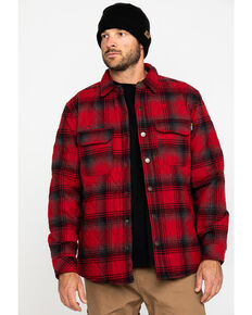 Hawx® Men's Red Miller Plaid Quilted Shirt Work Flannel Jacket , Red, hi-res