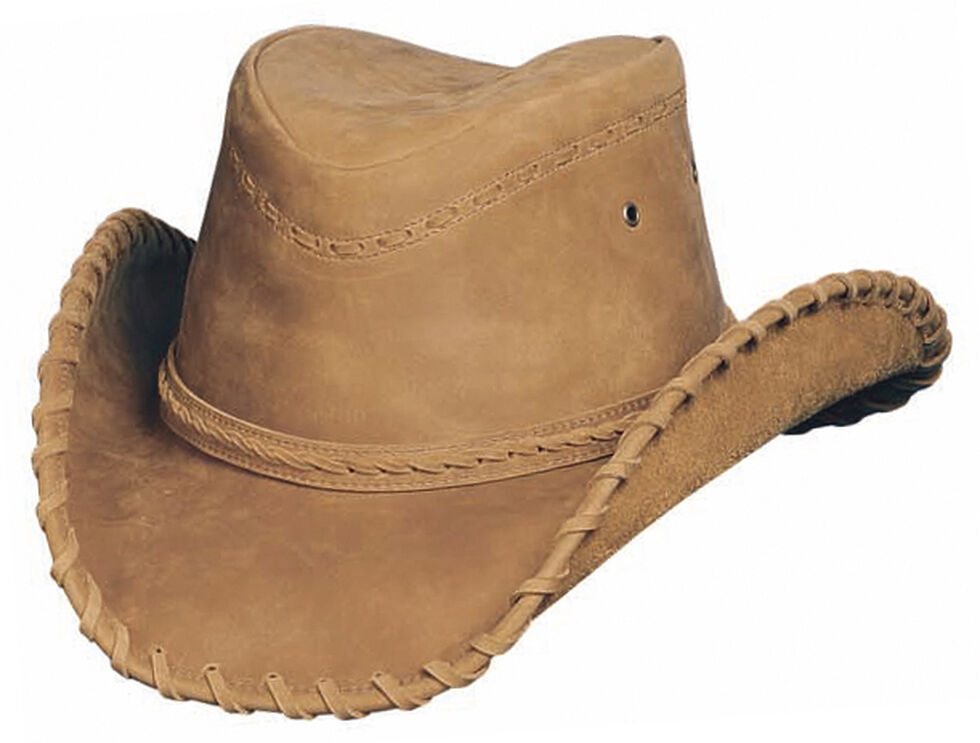 Bullhide Men's Sydney Leather Hat, Tobacco, hi-res